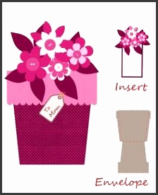 Flower pot shape card on Craftsuprint designed by Alaa Kay Use idea for seed packet party favors Put message on insert and attach small envelope of seeds