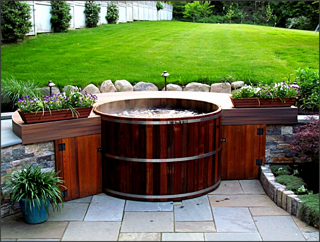 Wooden Hot Tubs bined With Two Plant Containers And Turquoise Flower Pot Over Floor Tile Facing Wo Small Garden Lamps And Green Grass Yard