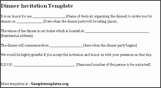 Invitation Letter for Dinner 05