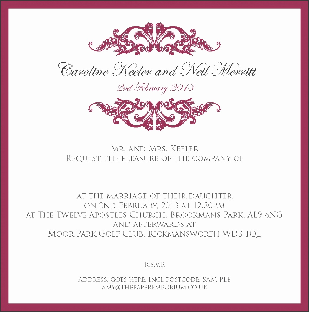 Wedding Reception Invitation Sample Text