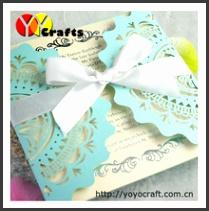 2018 wedding decoration blue lace wedding formal invitation cards China
