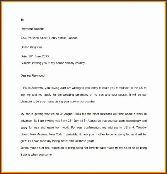 how to write invitation letter Sample Invitation Letter for US Visa