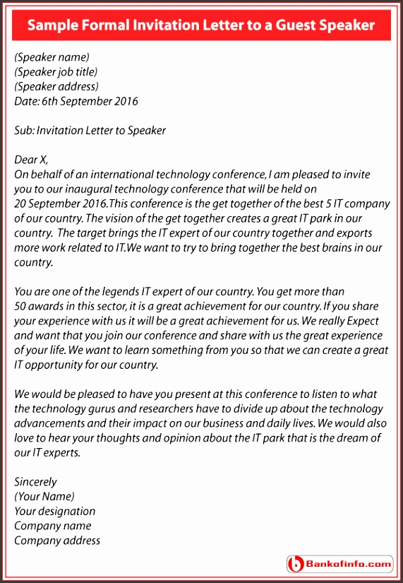Invitation Letter to a Guest Speaker