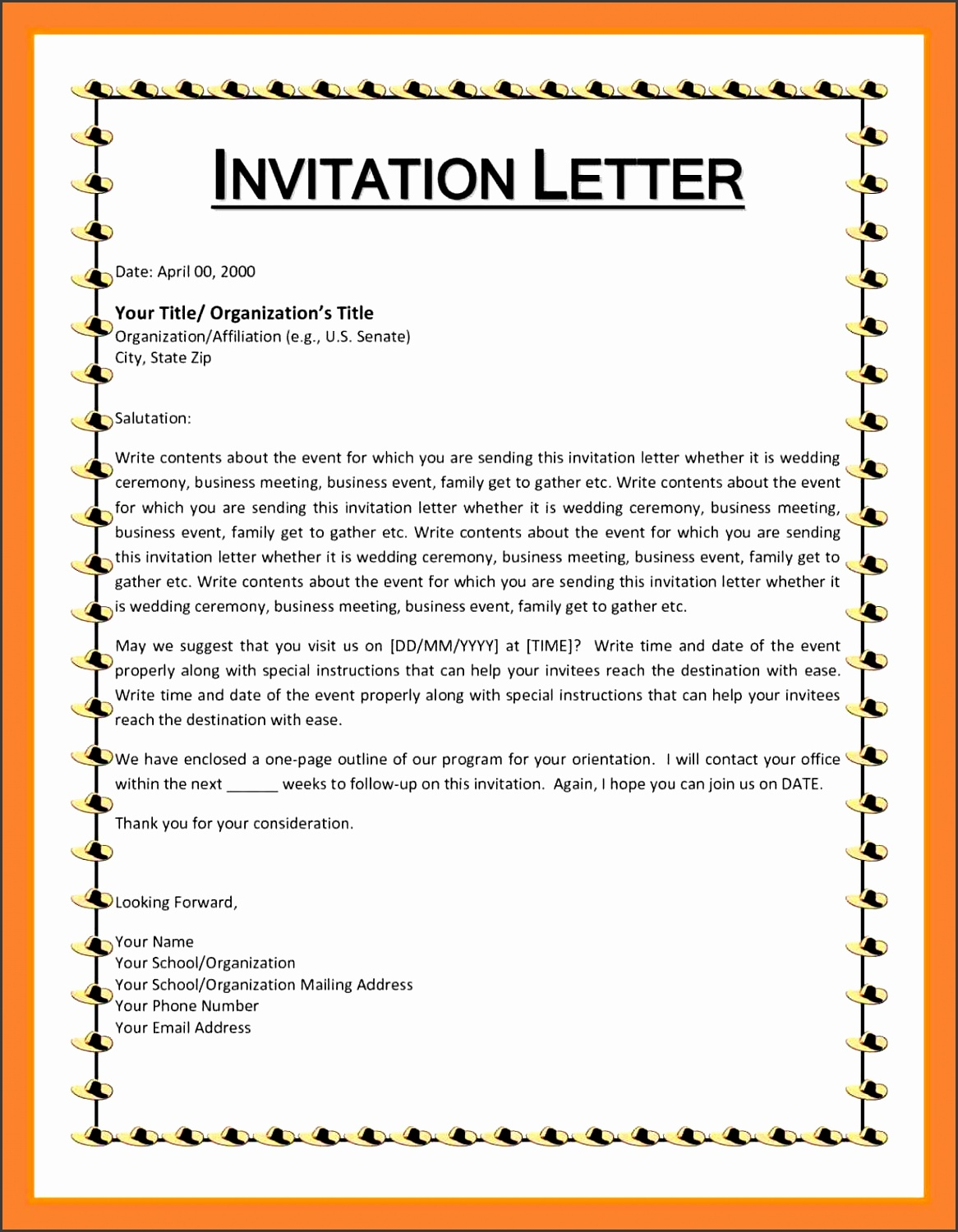 5 formal invitation letter sample for an event for Formal invitation template for an event