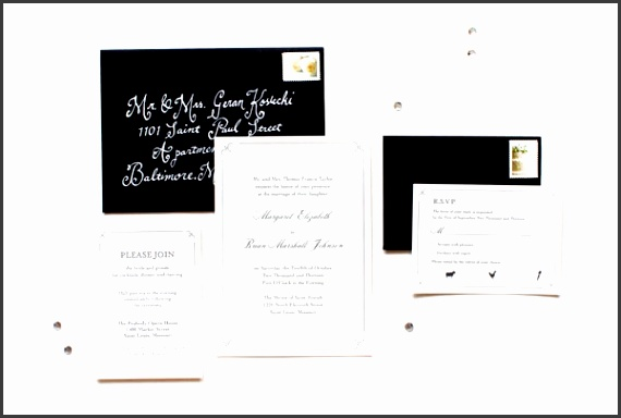 Elegant and Formal Black White Letterpress Wedding Invitations by Anne Kostecki via Oh So Beautiful