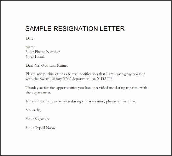 Letter Resignation Example Resignation Letter Two Week Notice Formal Resignation Letter Template