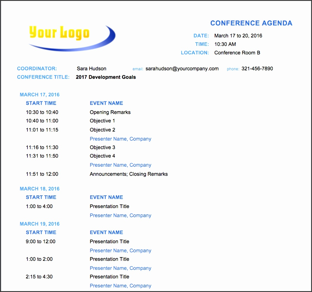 Make conference planning easier with this free conference agenda template Fields for date and time event names and presenter names are clearly marked