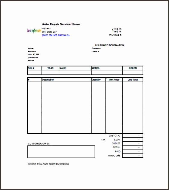 free auto repair receipt templatesto repair invoice template