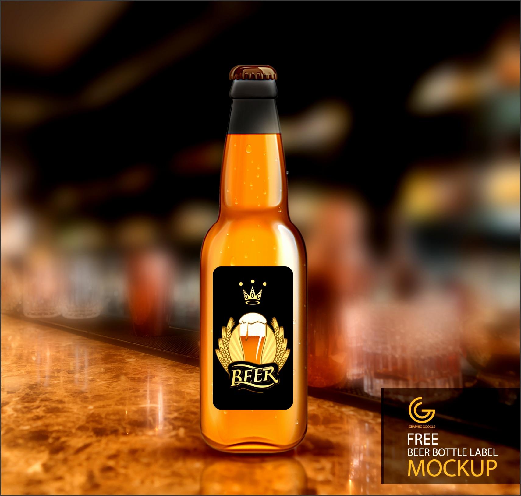 Free Beer Bottle Label Mockup Button Download
