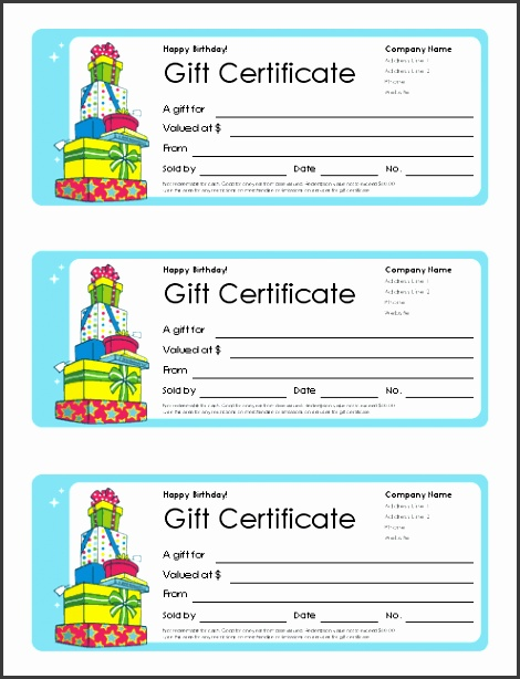 Birthday Gift Certificate Screenshot