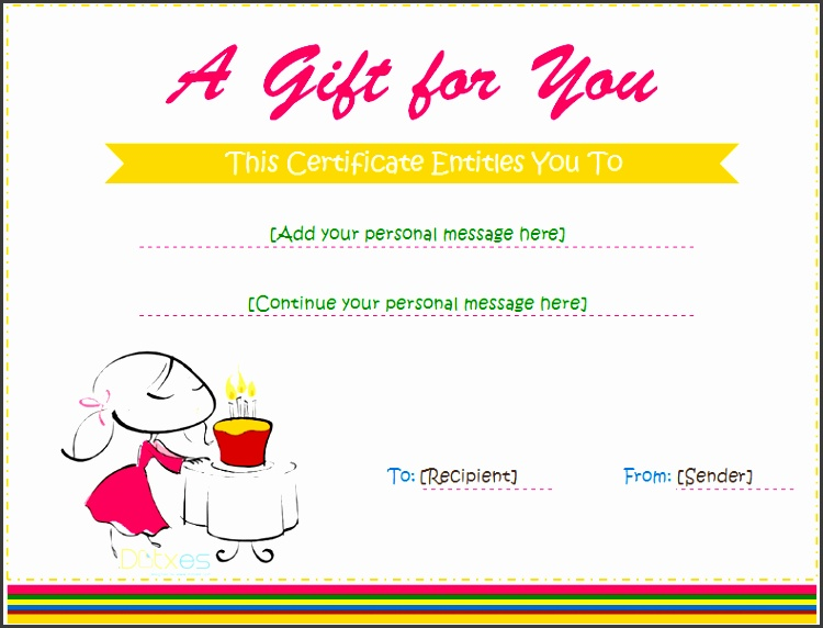 Birthday Gift Certificate Template Word Birthday Gift Certificate Templates For Girls And Boys Free