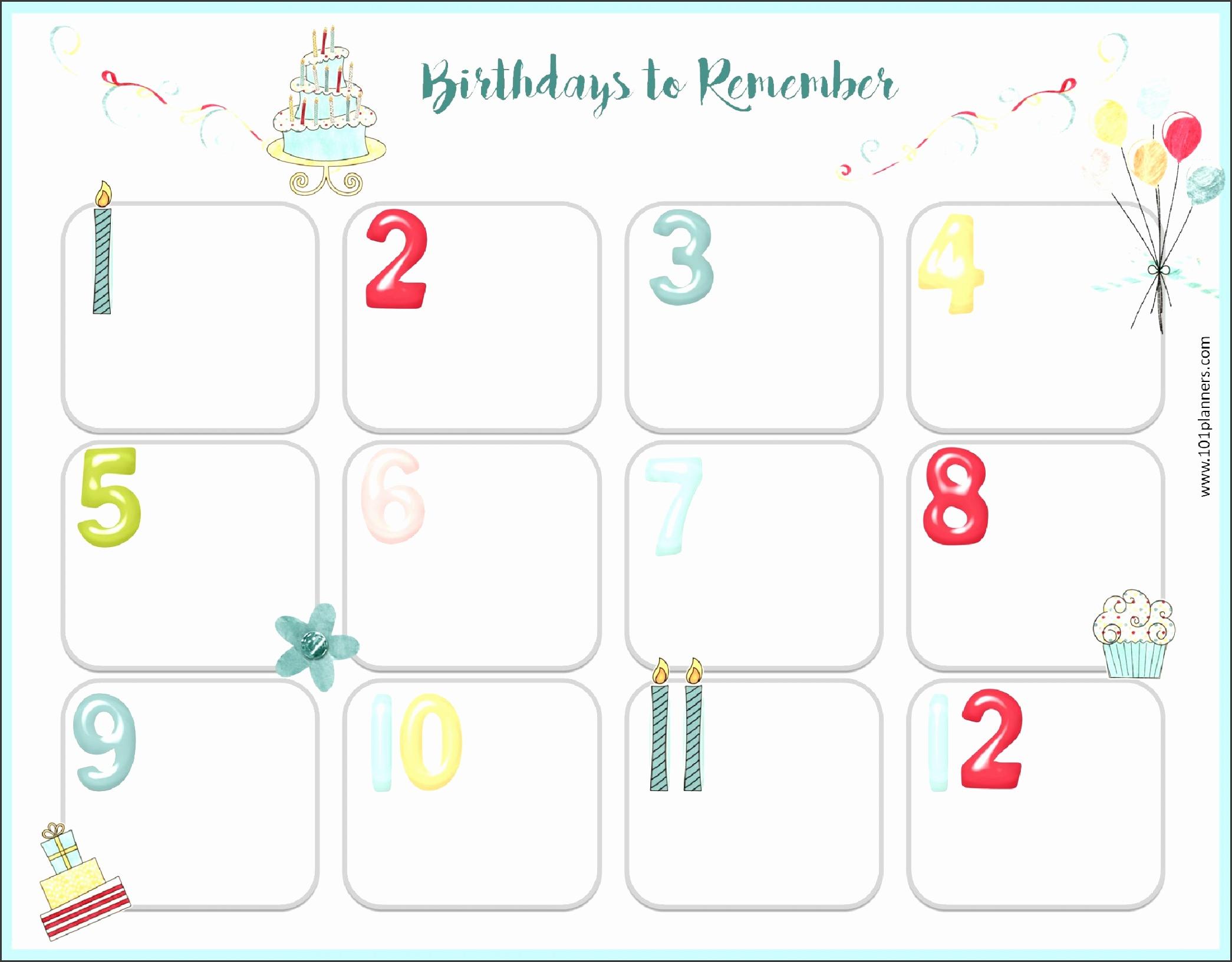 Birthday list · Birthday calendar template