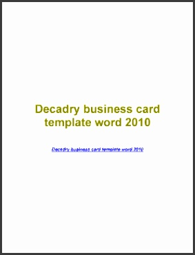 DownloadDecadry business card template word 2010