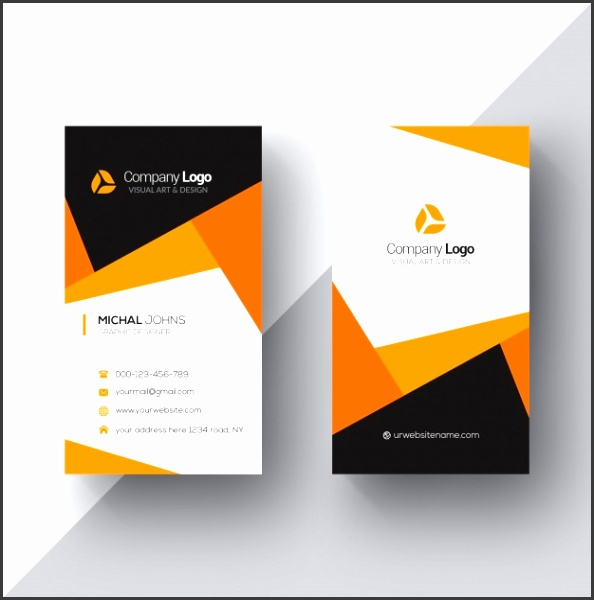 Free PSD template for a modern looking business card in vertical orientation The template features trendy geometric design in orange white and dark grey