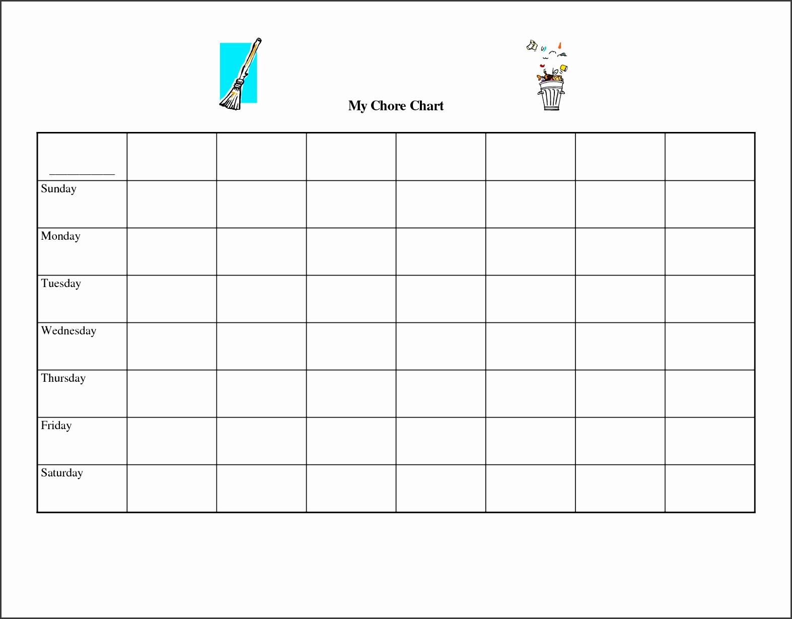 Chore Chart Template Free