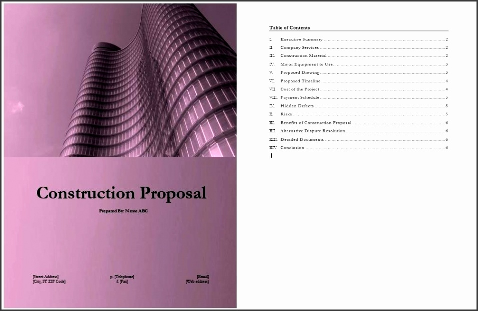 free construction proposal template construction proposal template free construction proposal template