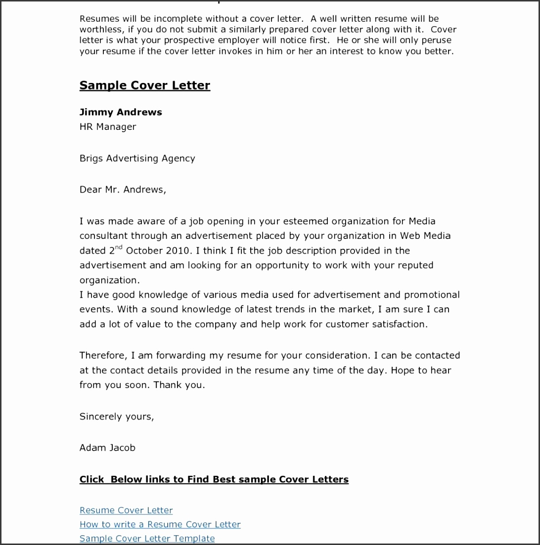 Resume Cover Letter Template Download Free