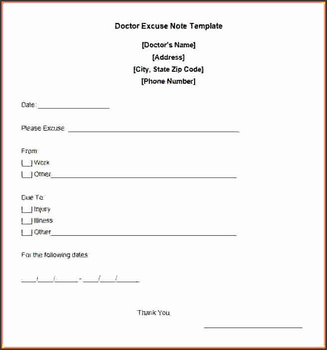 Doctor Note Example Free Doctor Excuse Note Template a
