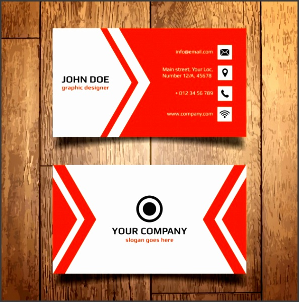 Red Business Card Template Free Vector