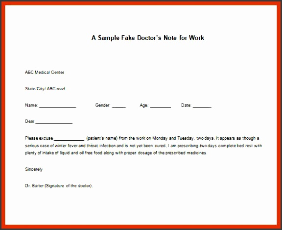 dr notes templates fake doctors note for work