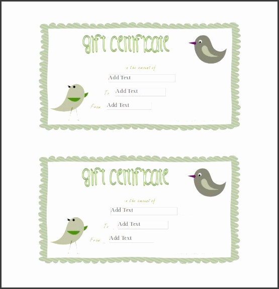 Birds Blank Gift Certificate Word Template Free Download