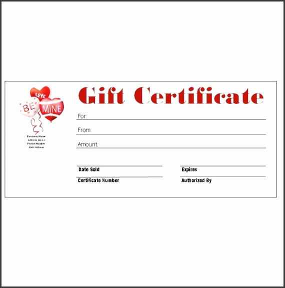 Valentine s Day Gift Certificate