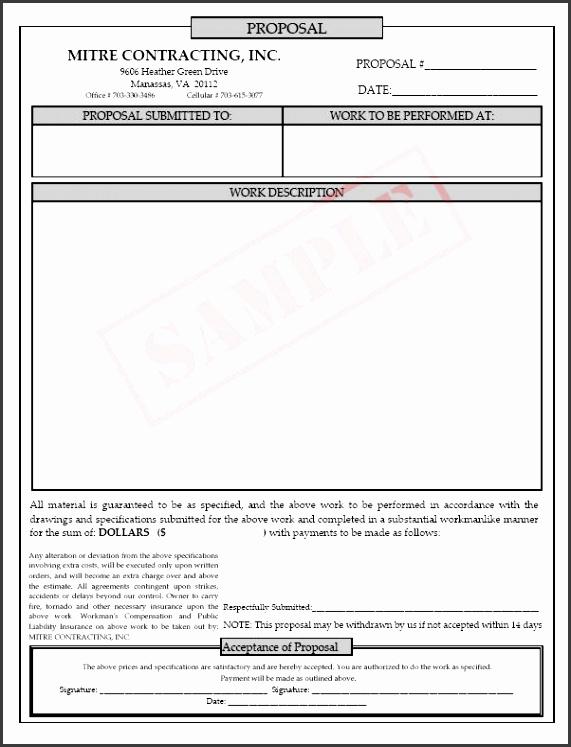 Job Proposal Form Template via Free Printable Blank Proposal Forms