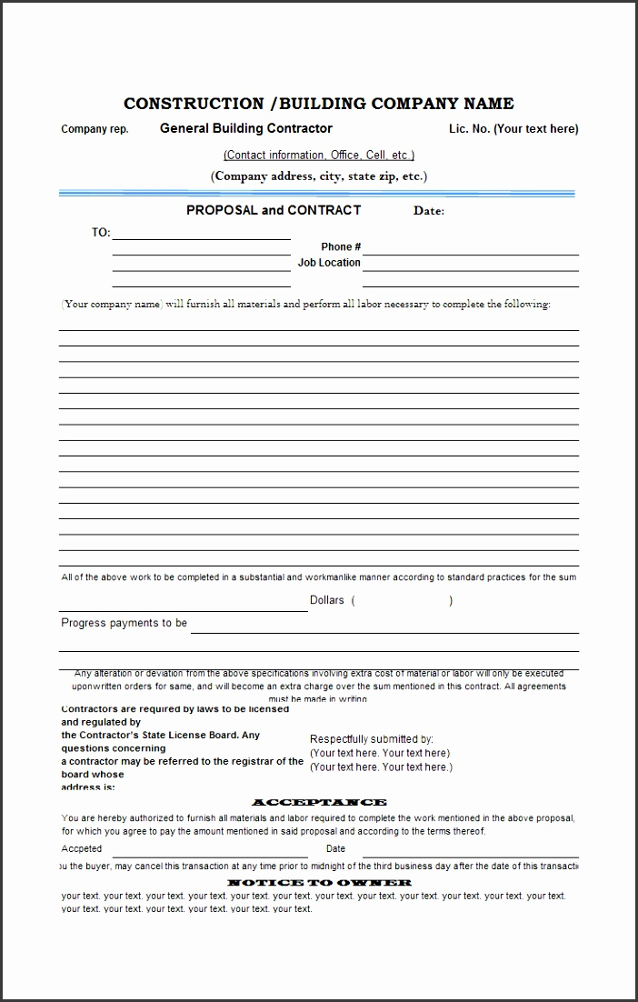 Construction Estimate Form The construction proposal template offers an intuitive