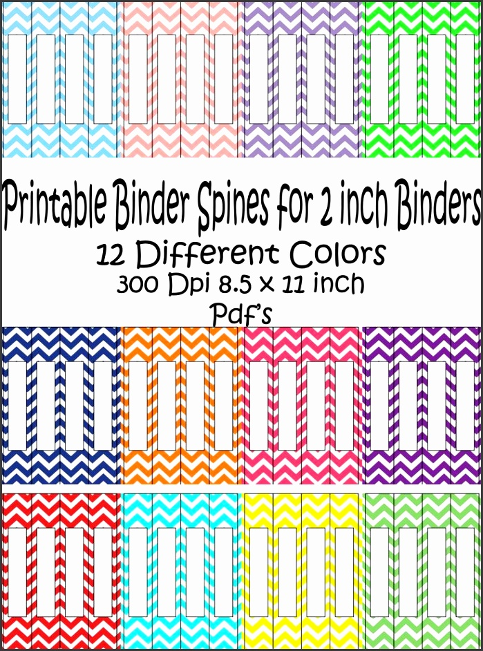Printable Binder Spine Pack Size 2 Inch 12 different Colors in Chevron Pattern Instant