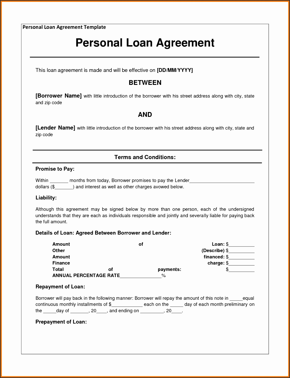 Loan agreement template loan contract form with sample