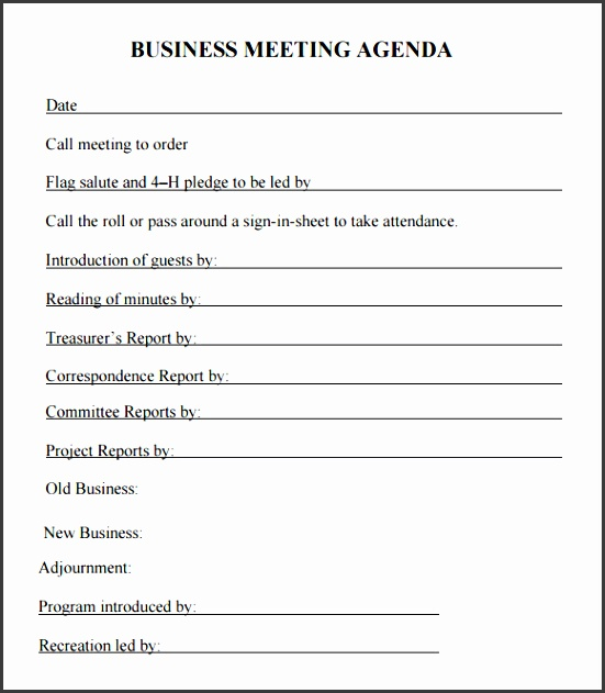 Business Meeting Agenda – 5 Free Samples Examples Format