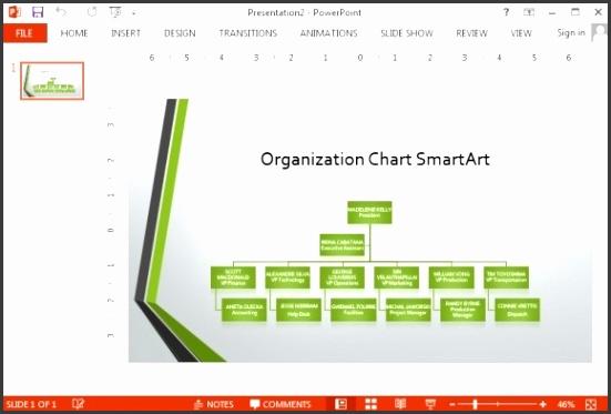 Widescreen organizational chart template for PowerPoint