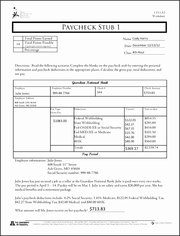 Editable Free Pay Check Stub Template PDF Format