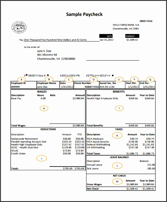 Wells Fargo Bank Payroll Check Template PDF