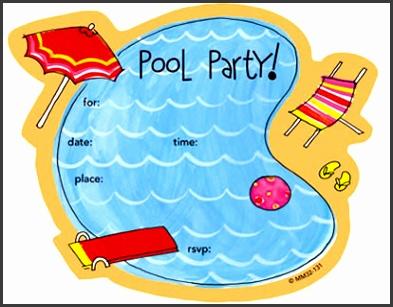 free printable kids pool party birthday invitations