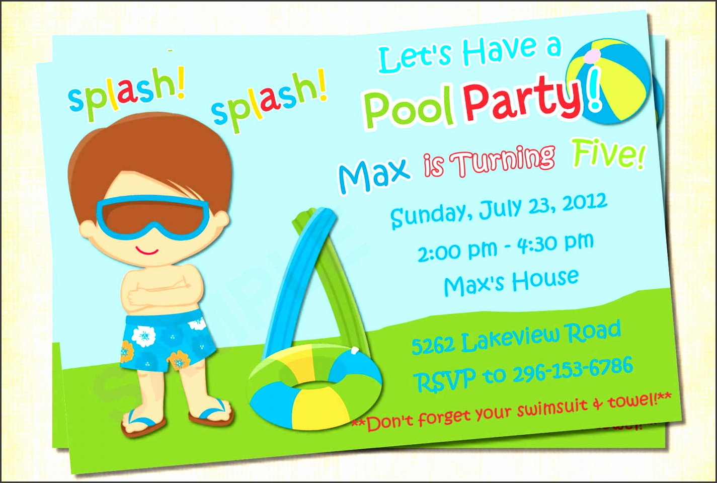 Free Pool Party Invitation Template Printable