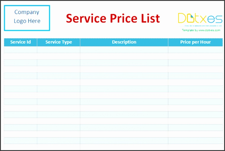 price list template for services