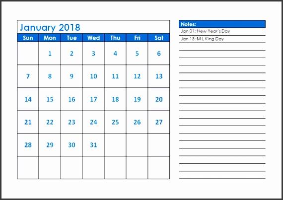 2018 Monthly Calendar Template Landscape