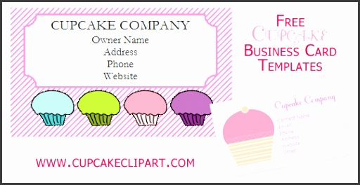 Free Printable Business Cards Template Free Cupcake Business Card Templates Cupcake Clipart Templates