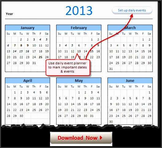 2013 Calendar – Excel Template Downloads