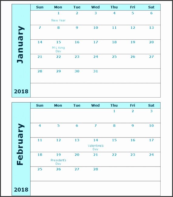 2018 Calendar Template Two Months Per Page