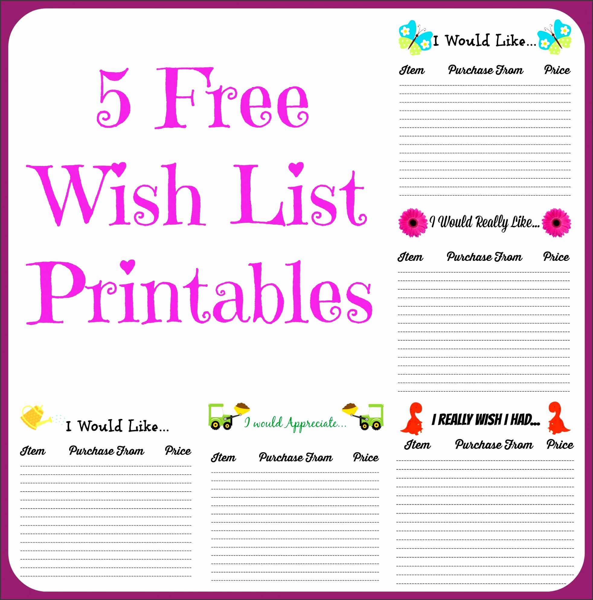 5 Free Wish List Printables