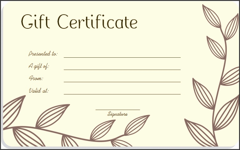 Leaf Branches Art Gift Certificate Template3