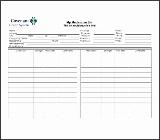 Medication List Template 02