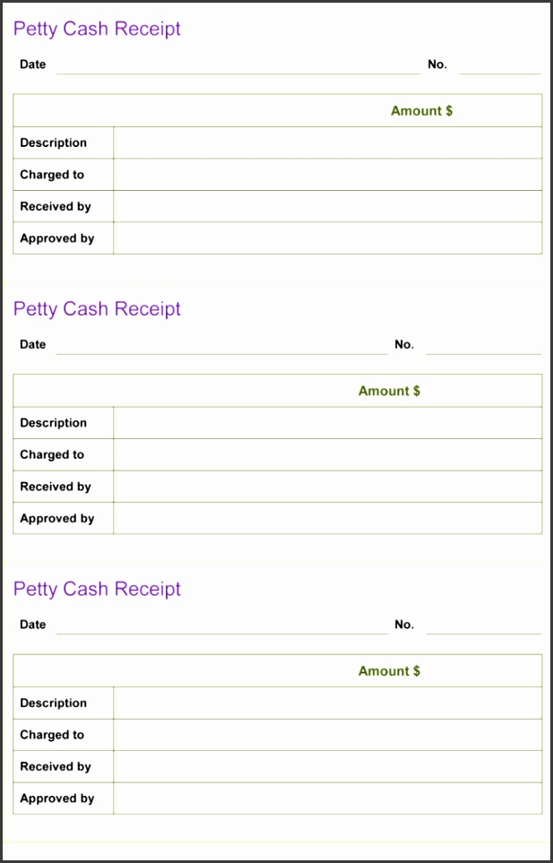 Petty Cash Receipt Template