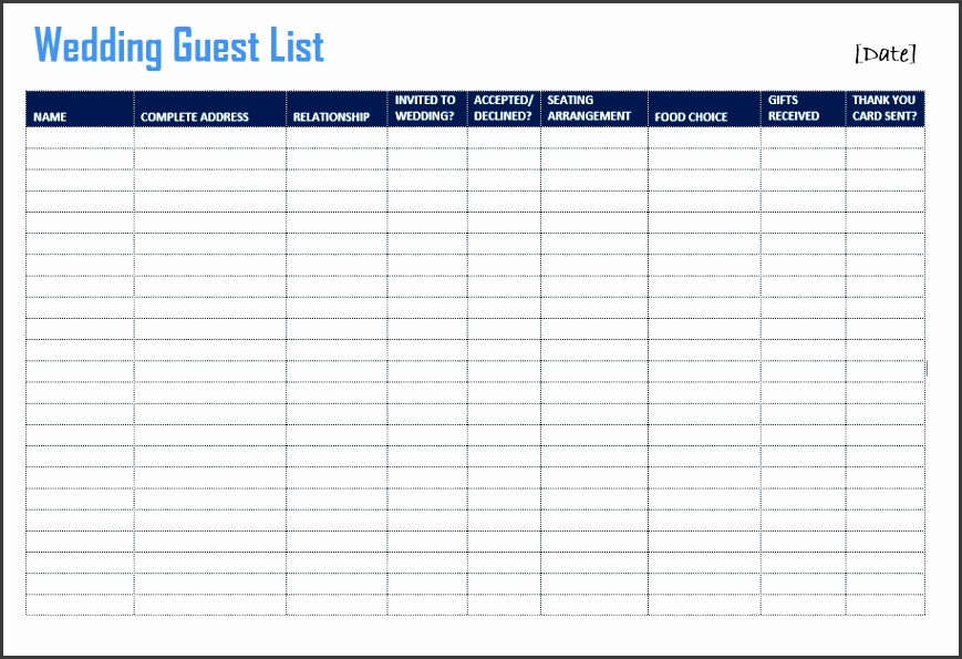Here is link for this Wedding Guest List Template 27mxULpg