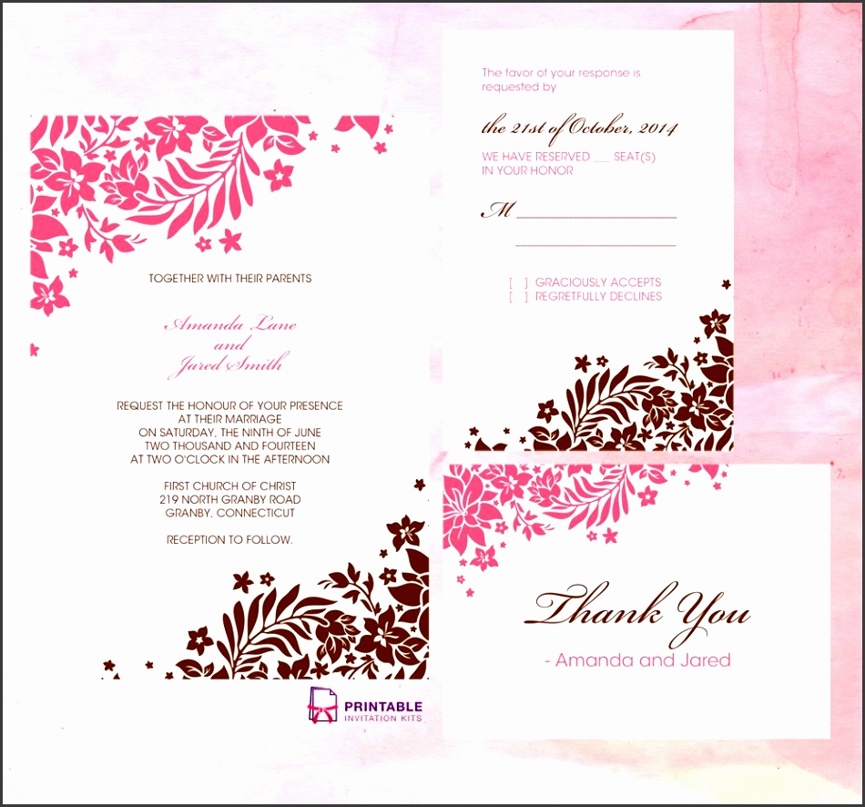 Pink and Brown Foliage Wedding Invitation