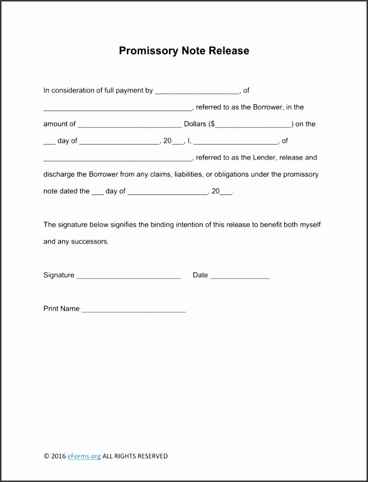 Free Promissory Note Loan Release Form Word Word Templates Promissory Note Template Free Promissory Note