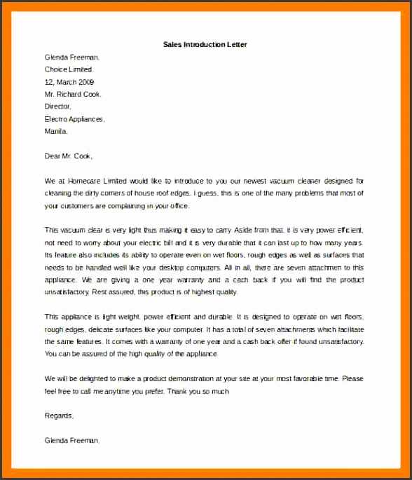 sales letter of introduction Sales Introduction Letter Template Free Word Format