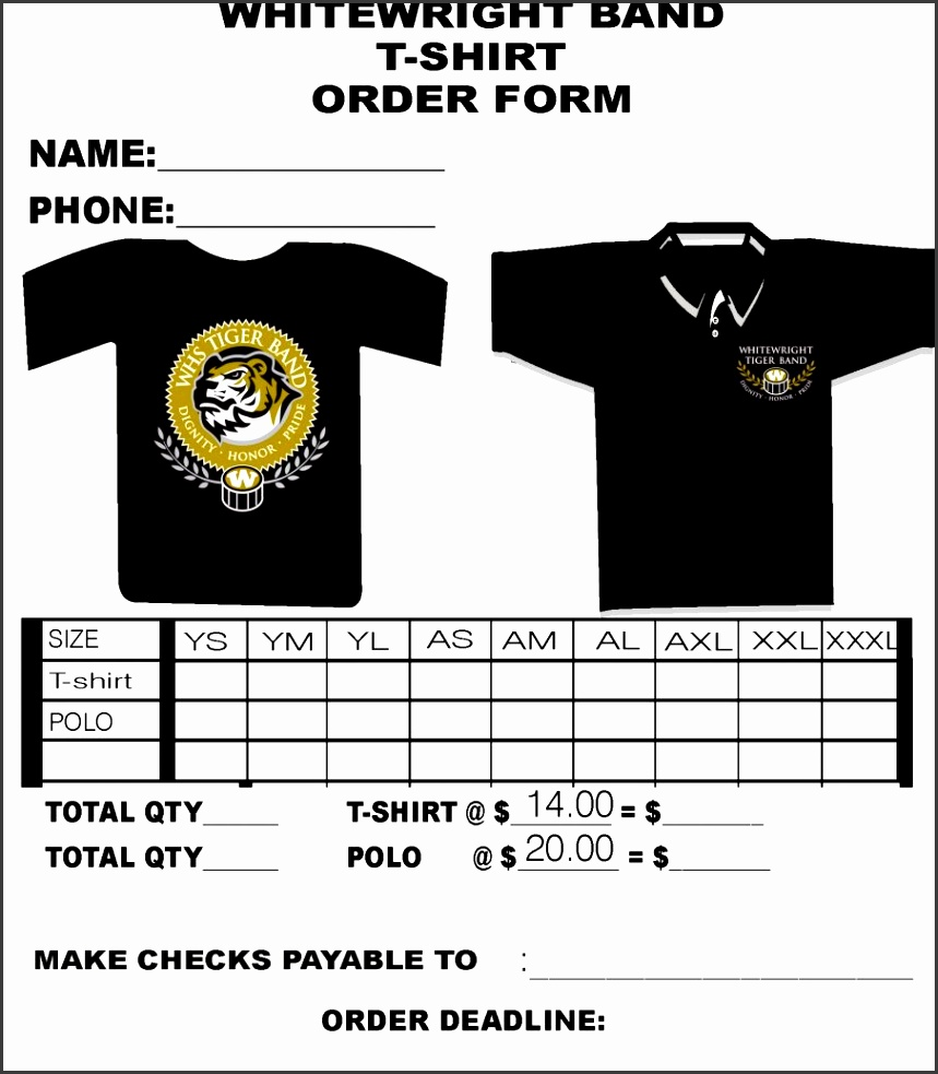 T Shirt Order Form Template Blank Free Download Pdf Pages T shirt Microsoft Word School